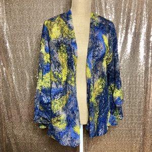 Blue & Yellow Feather Print Open Kimono Top